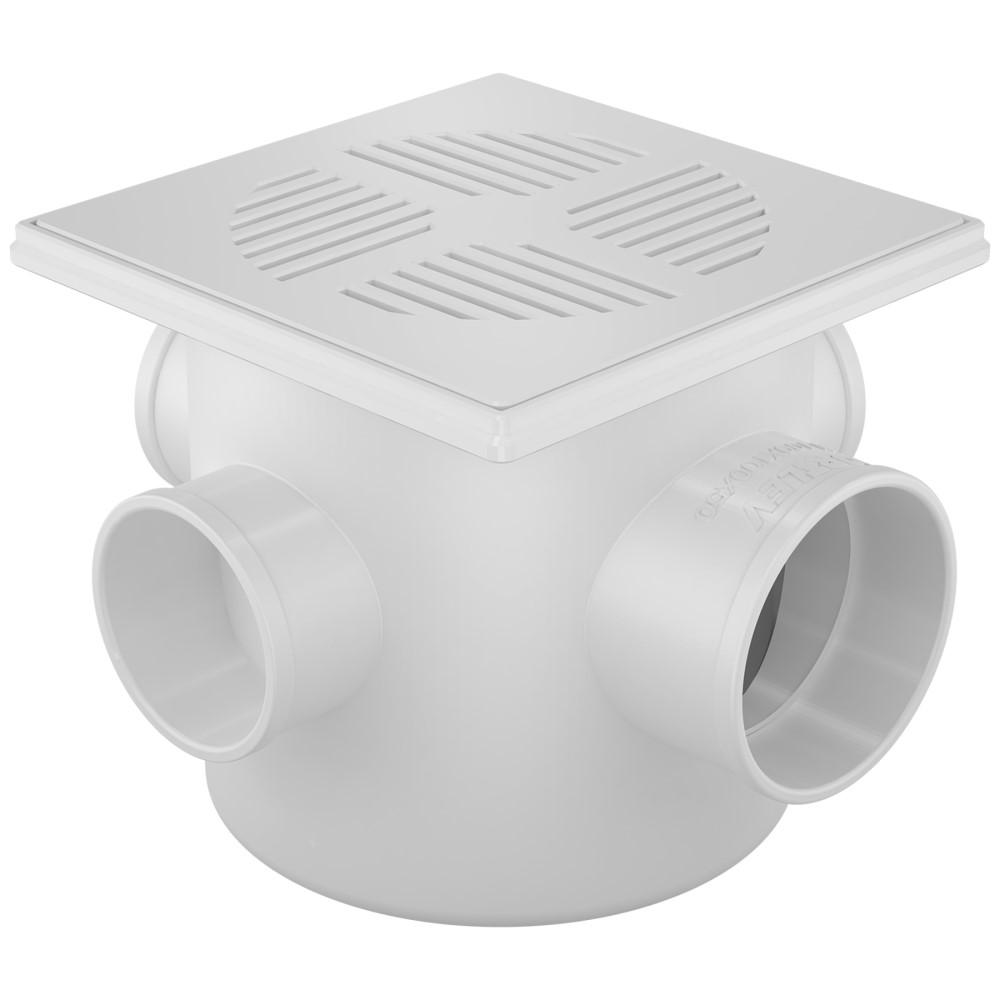 Caixa Sifonada com 3 Entradas 100x100x50mm - Branco