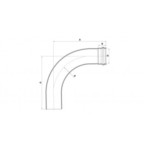 Curva 90° Longa para Esgoto SN 75mm - Branco