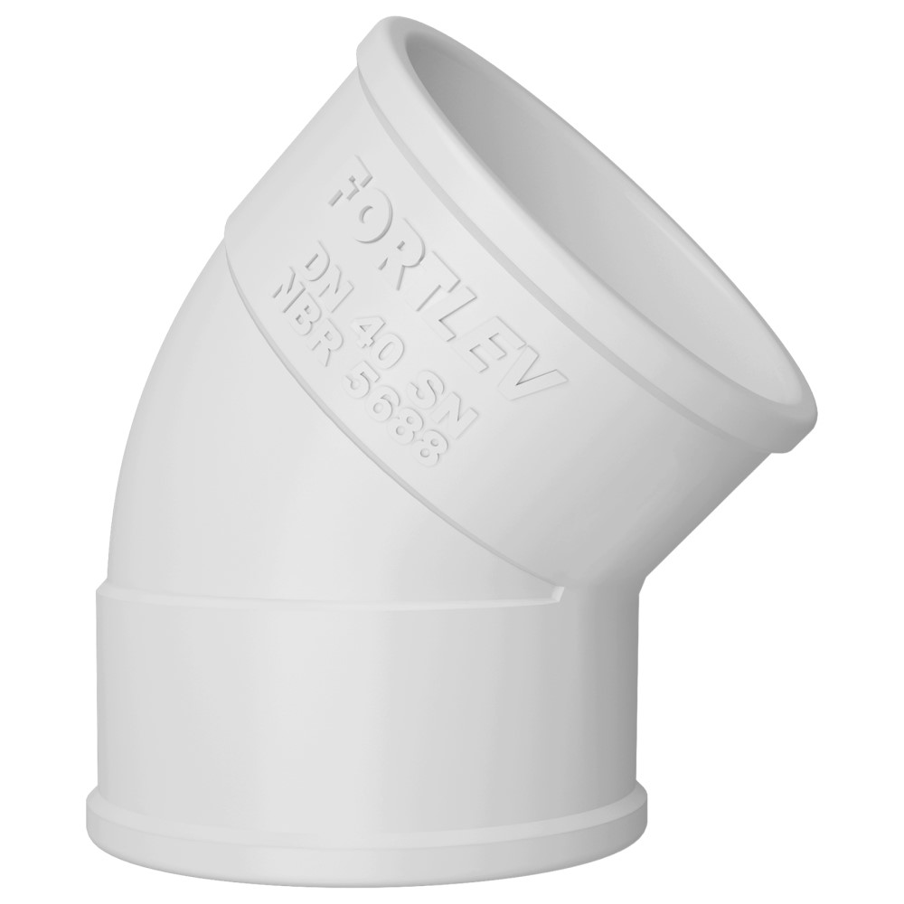 Joelho 45° para Esgoto SN 75mm - Branco