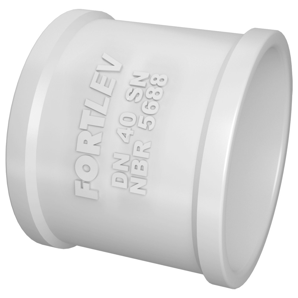 Luva Simples para Esgoto SN 100mm - Branco