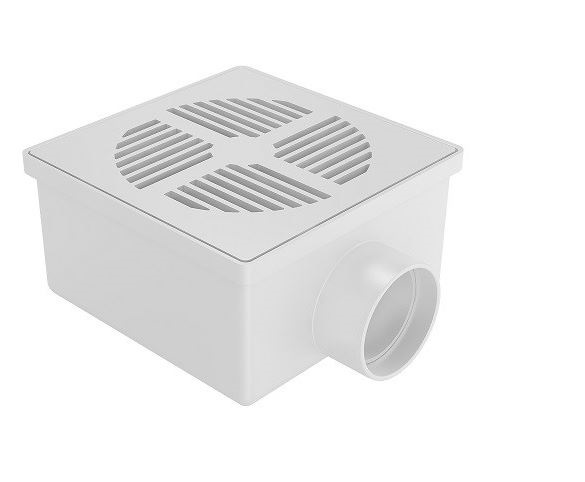 Ralo Seco Quadrado 100x52x40mm - Branco