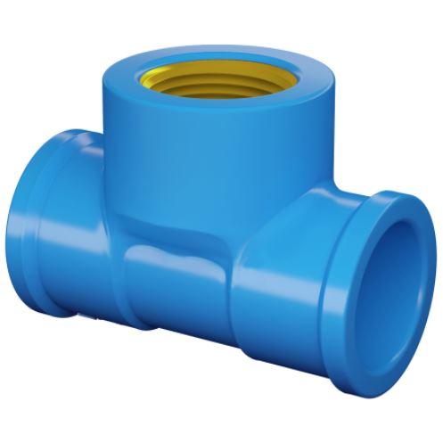 Tê 90° Soldável Com Bucha de Latão 20mm x 1/2'' Pvc -  Azul