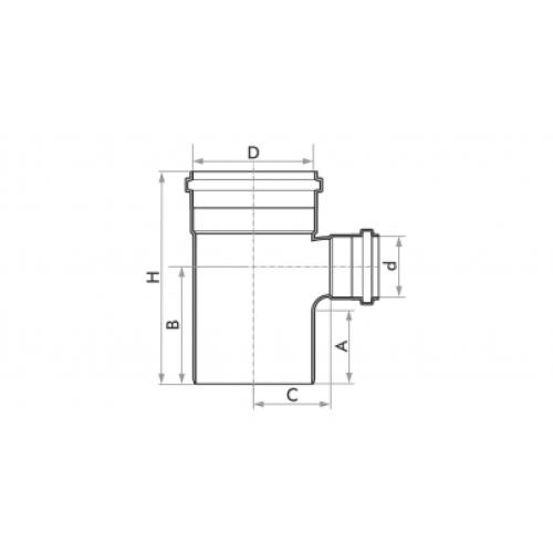Tê de Redução para Esgoto SN 100x50mm - Branco
