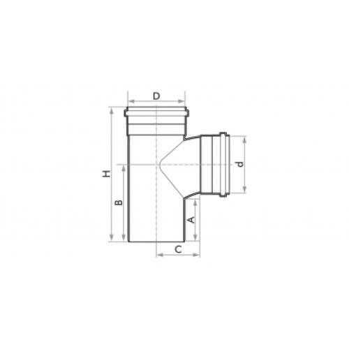 Tê para Esgoto SN 75mm - Branco
