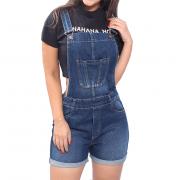 Macacão Jardineira Jeans Curta Feminina Macaquinho Bolso Top