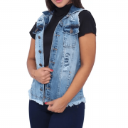 Maxi Colete Jeans Feminino Longo Luxo Rasgado Claro Escuro