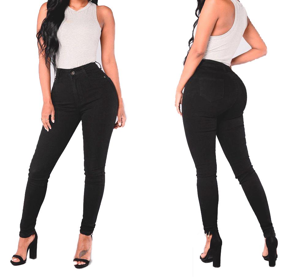 Calça Feminina Preta Skinny Jeans Sarja Cintura Alta Social