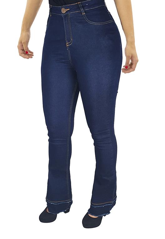 Calça Jeans Feminina Flare Boca De Sino Cintura Alta Lycra