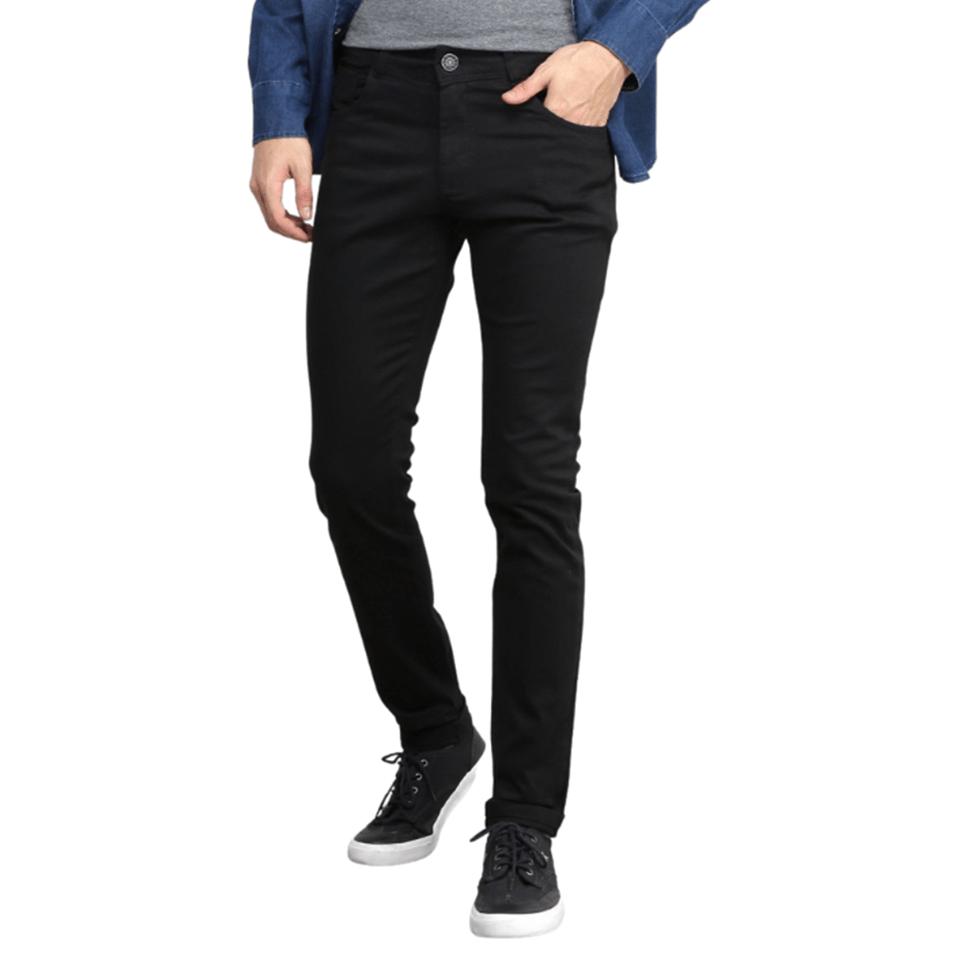 Calça Masculina Preta Skinny Slim Social Lycra Jeans Sarja