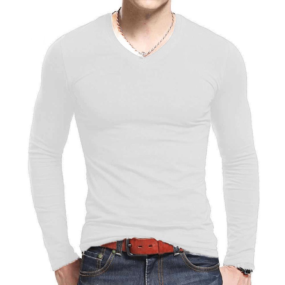 Camiseta Masculina Manga Longa Gola V Lycra