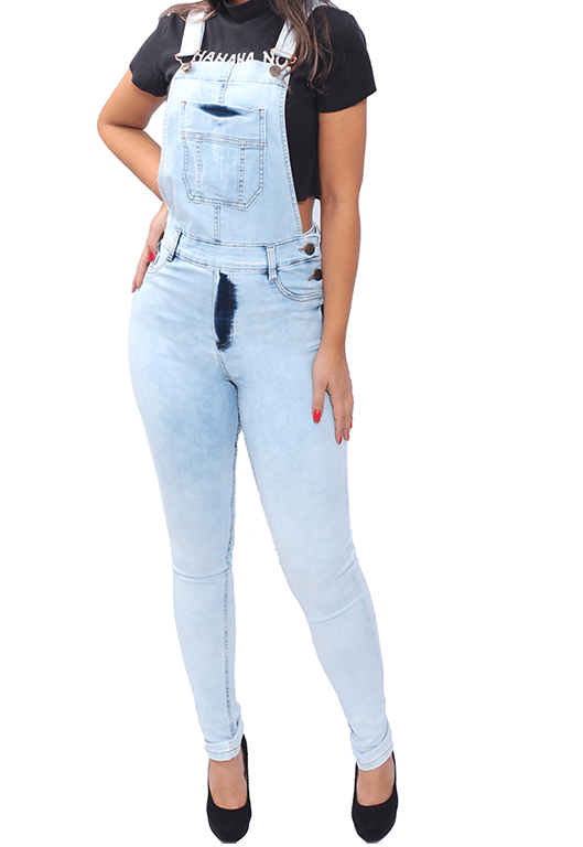 Macacão Jeans Longo Jardineira Feminina Calça Skinny Lycra