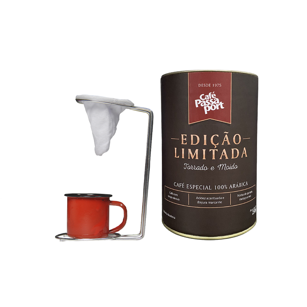 Kit Café Passaport Edição Limitada com Mini coador Vermelho