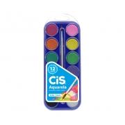 Aquarela Escolar Cis em pastilha c/ 12 cores