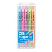 Caneta Cis Sugar Retrátil Pastel 1.0mm c/ 5 Cores