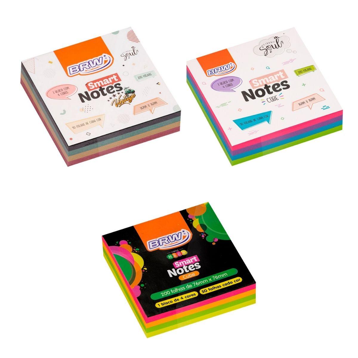 Bloco Adesivo BRW Smart Notes Cube Colorido 76x76mm