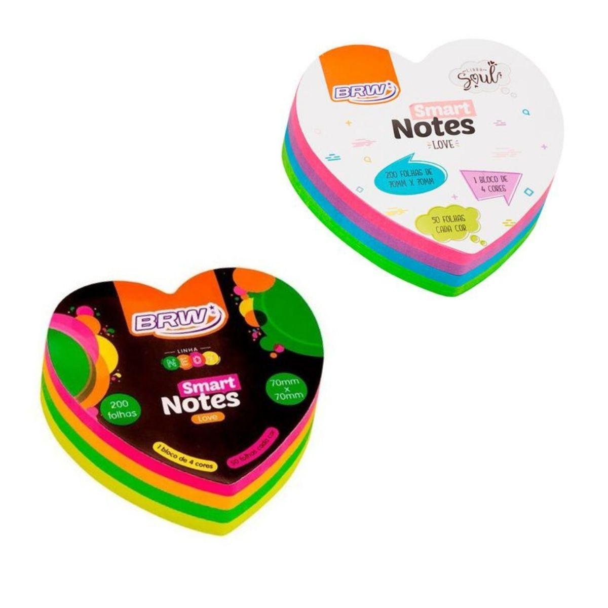 Bloco Adesivo BRW Smart Notes Love Coração Colorido 70x70mm