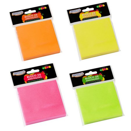Bloco Adesivo BRW Smart Notes Neon 76x76mm