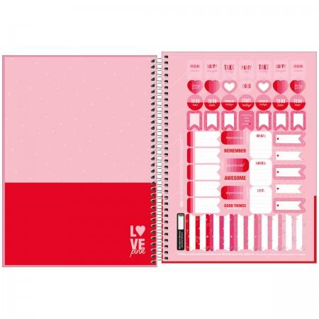 Caderno Espiral Love Pink Tilibra Universitário 10 Matérias