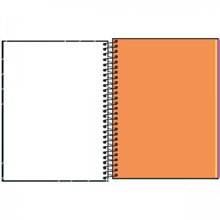 Caderno Espiral Neon Kori sem Pauta Tilibra Colegial 80 Folhas Coloridas
