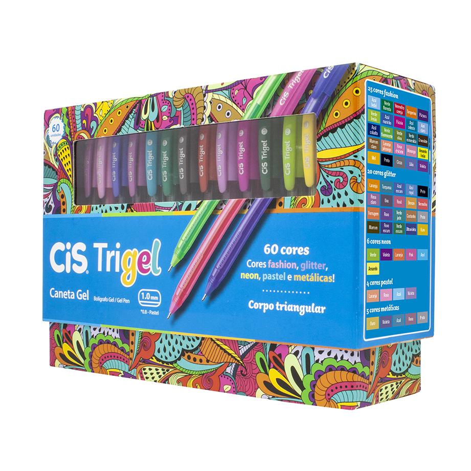 Caneta Cis Gel Trigel 1.0mm c/ 60 cores