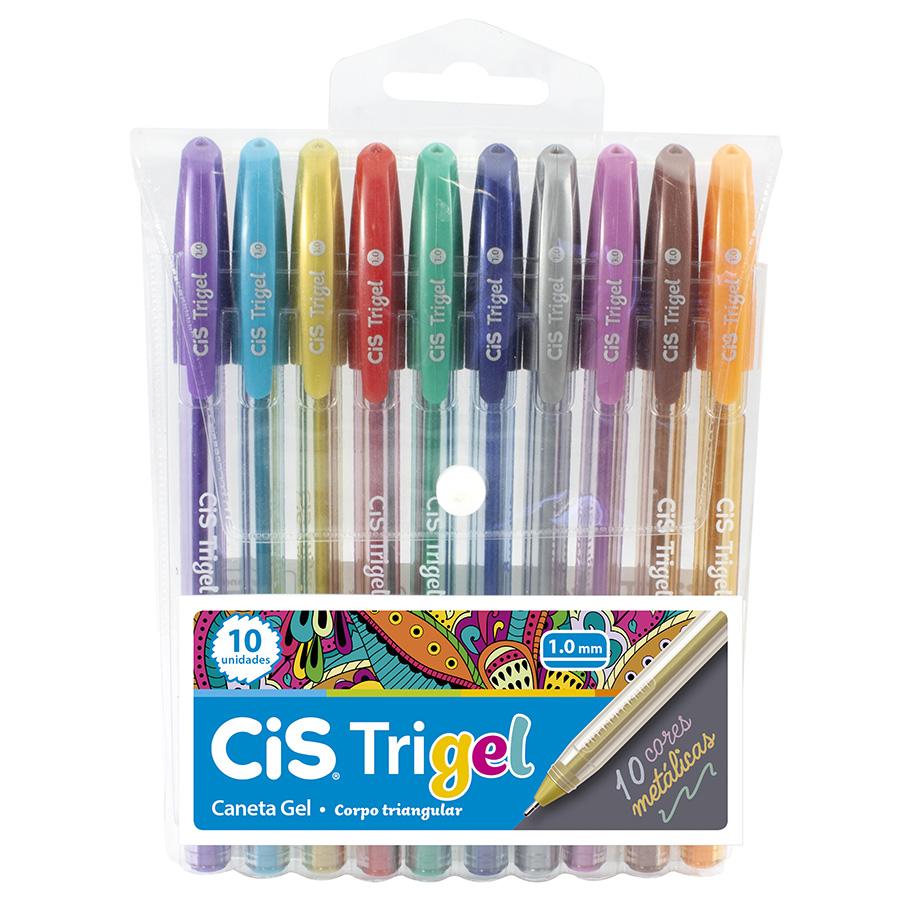 Caneta Cis Gel Trigel Metálica 1.0mm c/ 10 cores