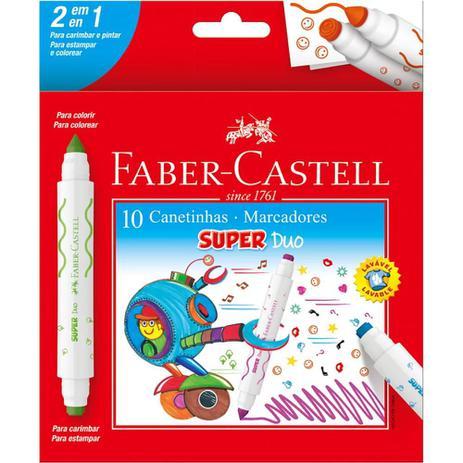 Canetinha Hidrográfica Faber Castell 2 pontas Super Duo 10 cores
