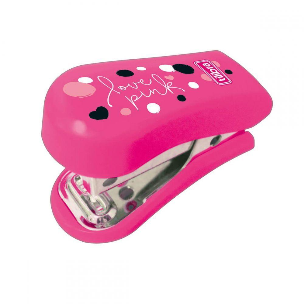 Grampeador Mini Love Pink c/ Extrator Tilibra 12 Folhas