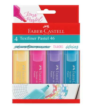 Marca Texto Faber Castell TextLiner 46 Pastel 4 cores