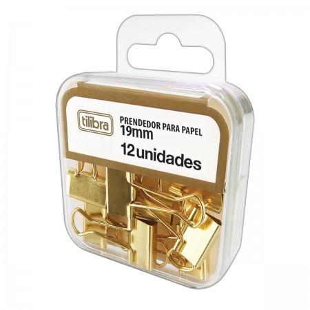 Prendedor De Papel Binder Clip Dourado 19mm Tilibra 12 Unidades