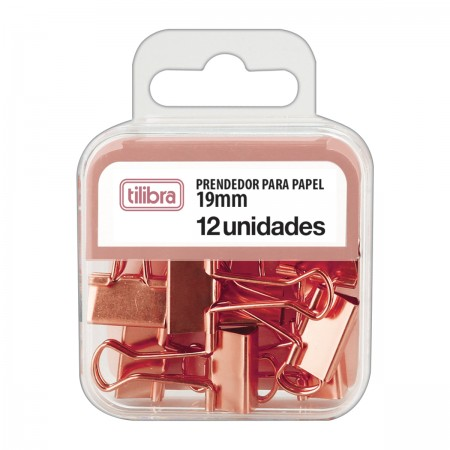 Prendedor De Papel Binder Clip Rosê 19mm Tilibra 12 Unidades
