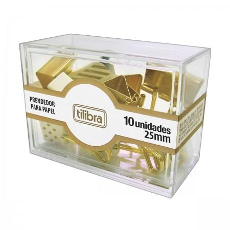 Prendedor De Papel Binder Clip Dourado Decorado 25mm Tilibra 10 Unidades
