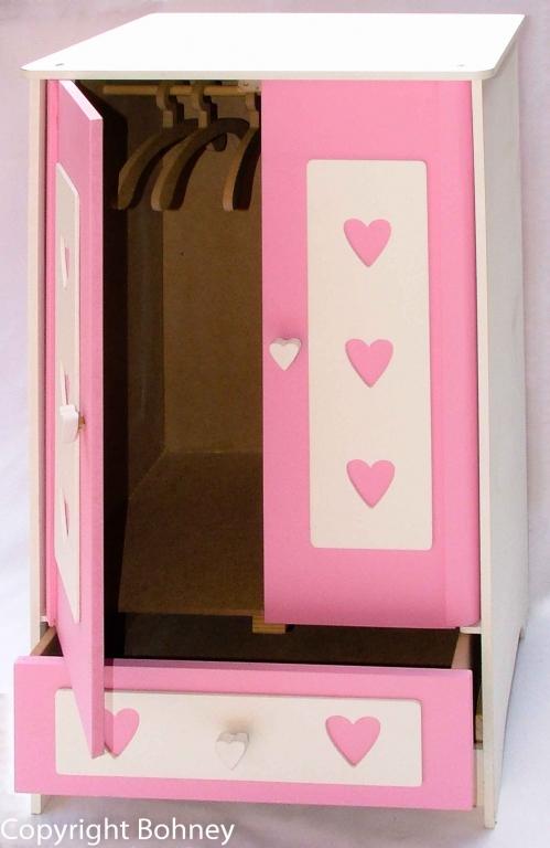 Armario Guarda Roupa de Boneca rosa