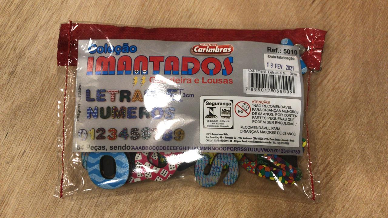 COLECAO IMANTADOS LETRAS E NUMEROS 3 CM