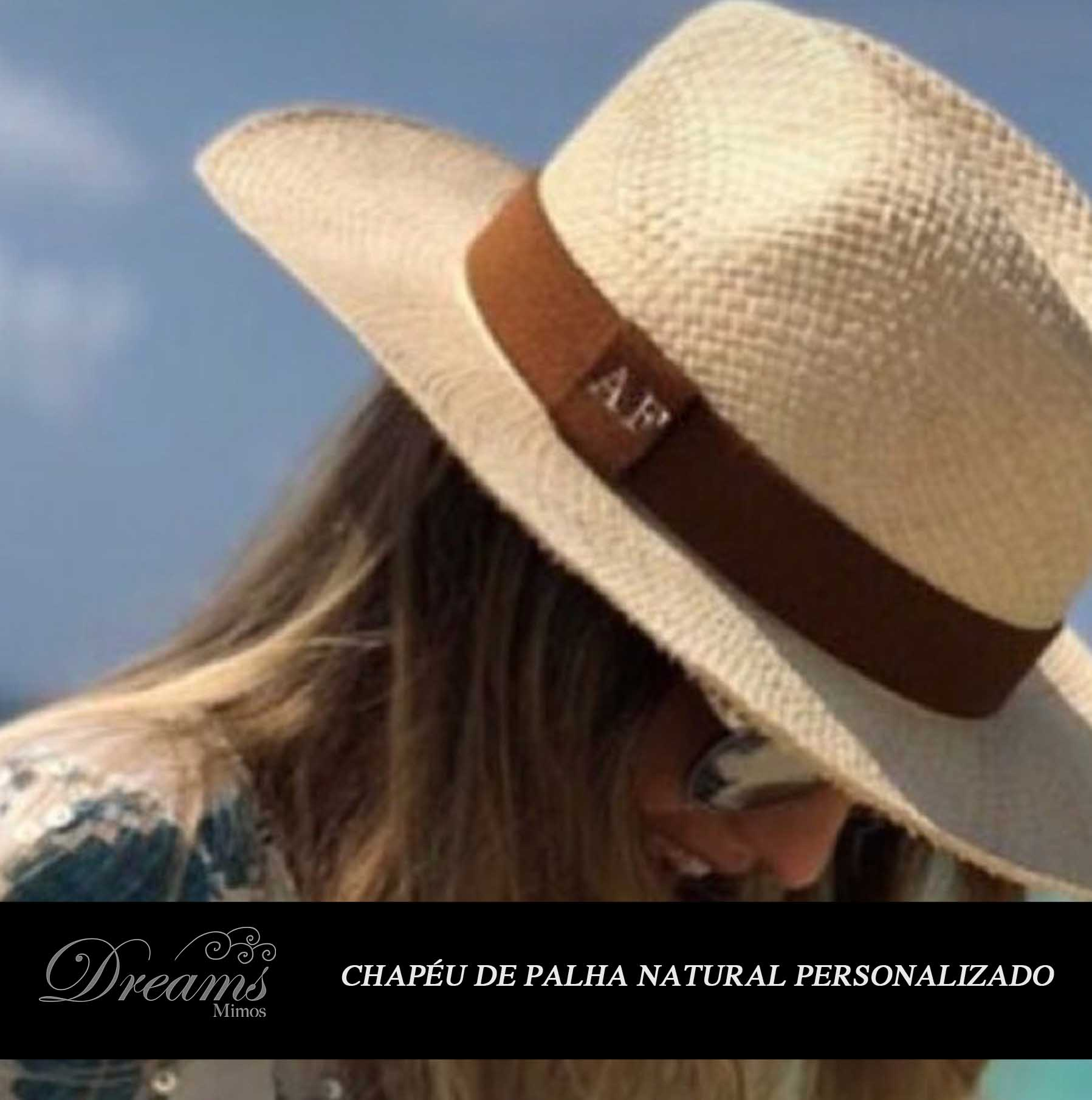 Chapéu Unissex Palha Natural Personalizado