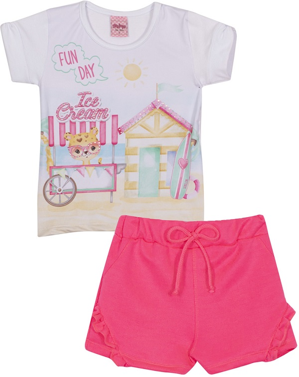 Conjunto Bebê Menina Beach - Branco/Rosa Neon