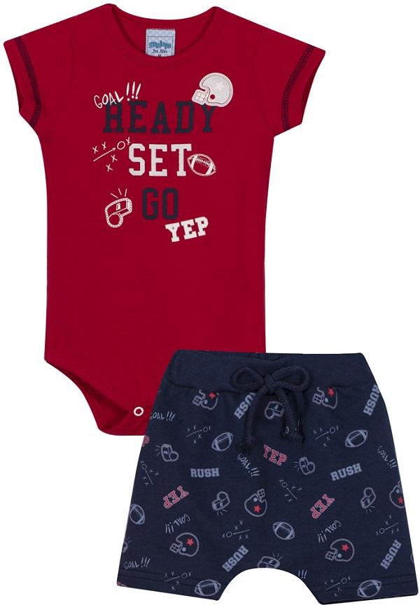 Conjunto Bebê Menino Sport - Vermelho/Azul Marinho