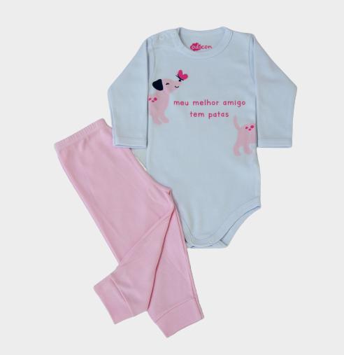 Conjunto Body e Calça Pet Rosa
