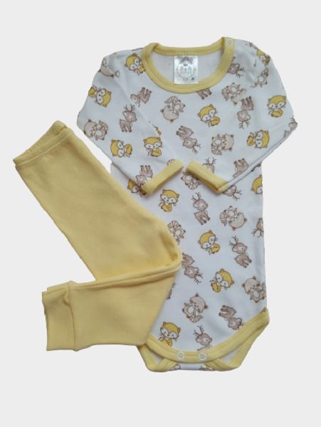 Conjunto Body e Calça Suedine Animais/Amarelo
