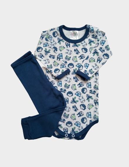 Conjunto Body e Calça Suedine Animais/Azul Escuro