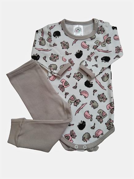 Conjunto Body e Calça Suedine Animais/Cinza