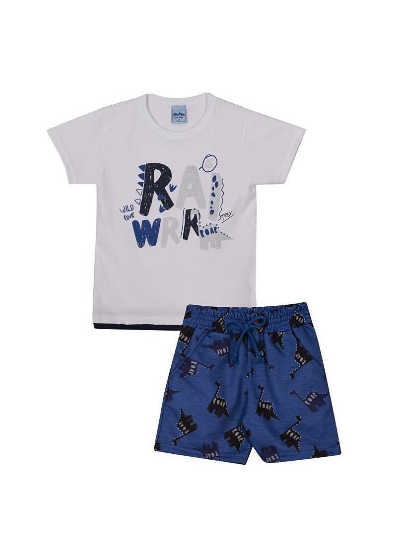 Conjunto Infantil Menino Dino - Branco/Azul
