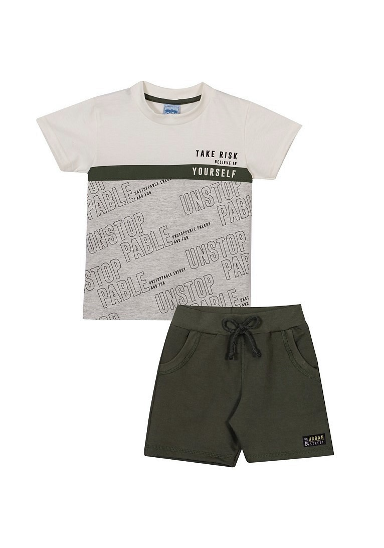 Conjunto Infantil Menino Urbano - Off White/Verde Colina