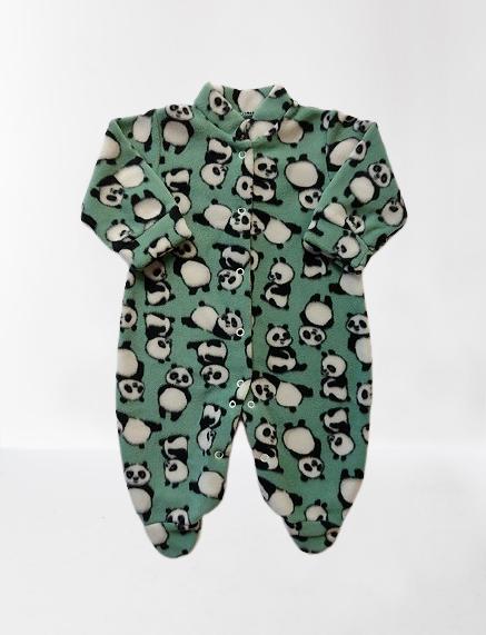 Macacão de Microsoft com pé - Panda/Verde
