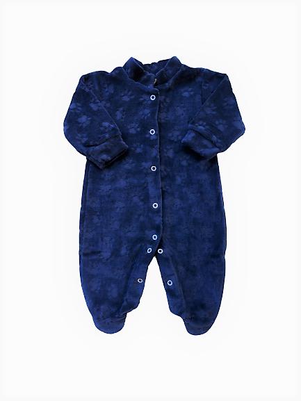 Macacão de Plush - Patinhas/Azul Escuro