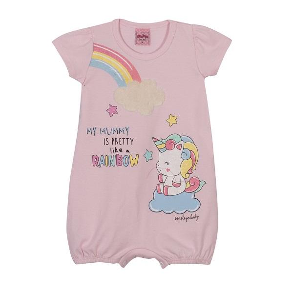 Macaquinho Bebê Menina Rainbow - Rosa Pétala