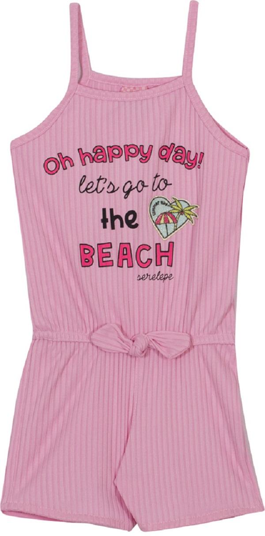 Macaquinho Infantil Menina Beach - Rosa Begonia