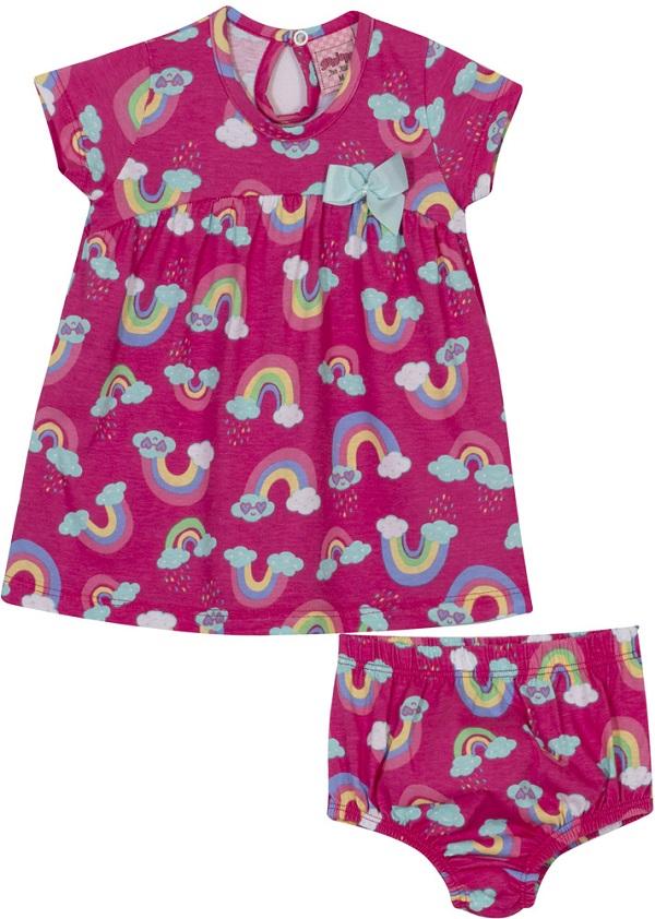 Vestido Bebê Rainbow - Pink