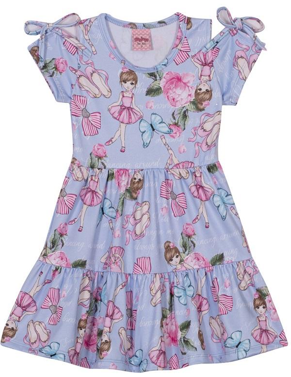 Vestido Infantil Menina Bailarina - Azul