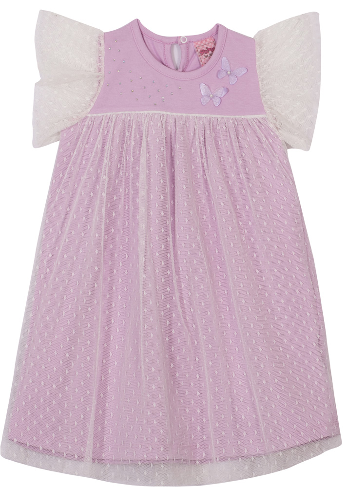 Vestido Infantil Menina Com Tule - Lavanda