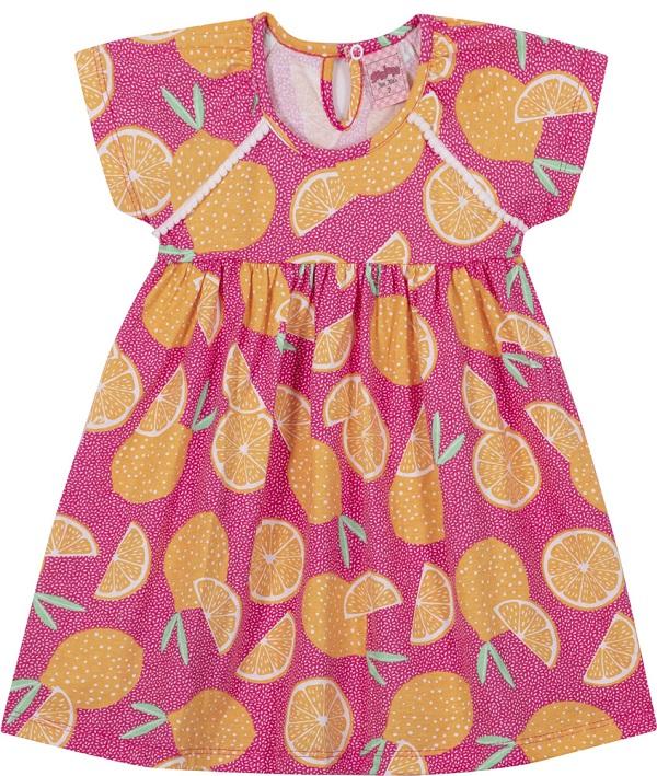 Vestido Infantil Menina Laranja - Pink